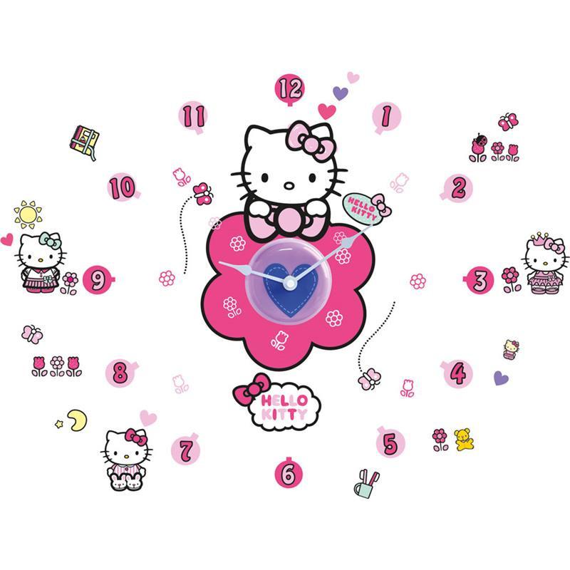 Hello Kitty relógio de parede com autocolantes