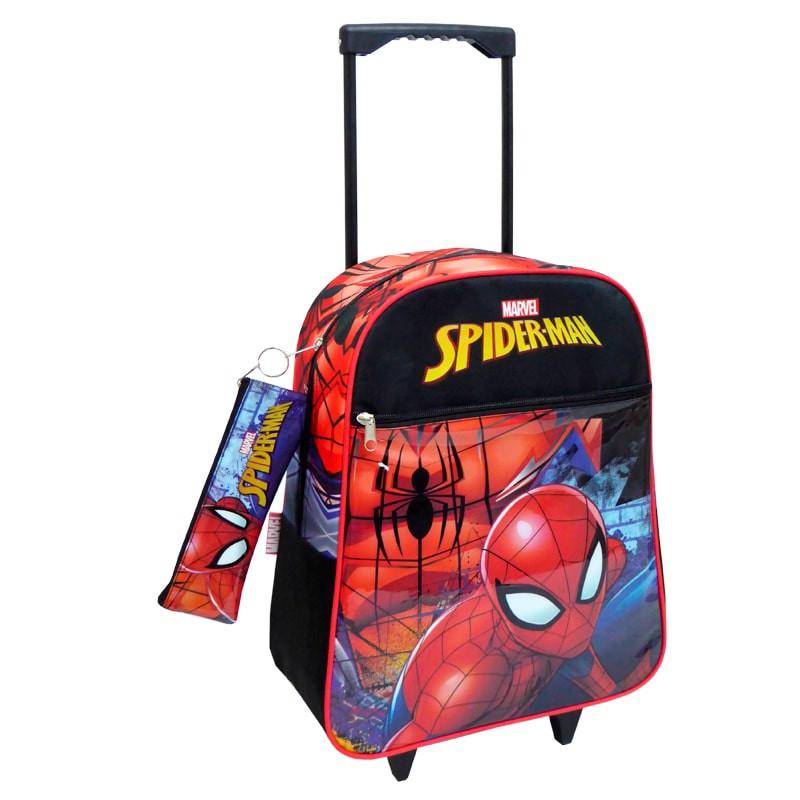 Mochila trolley Spiderman com estojo 43cm