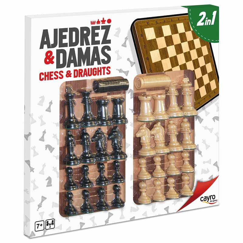 Tabuleiro xadrez e damas madeira