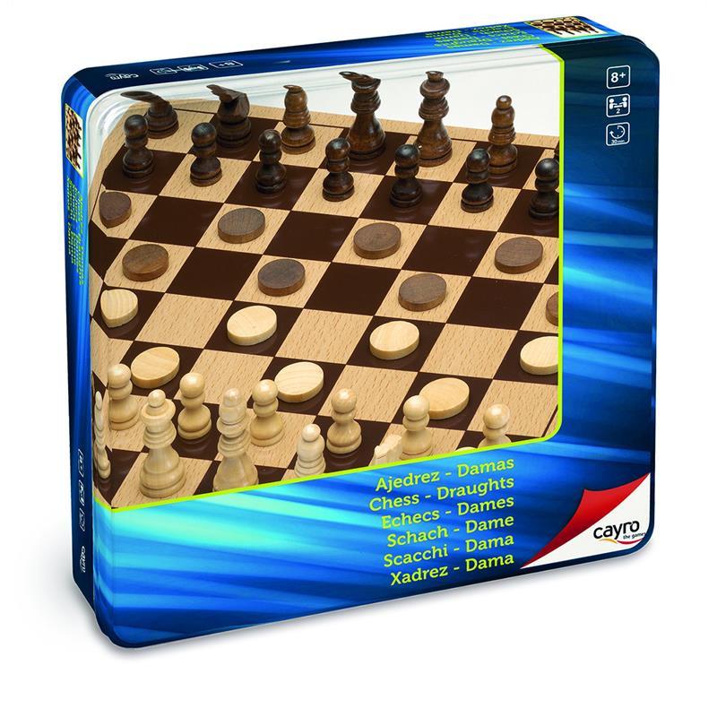 Xadrez e damas de madeira em caixa de metal