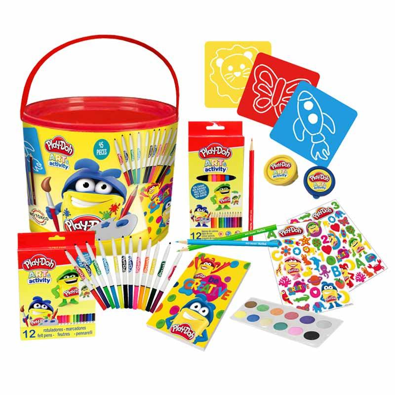 Play Doh conjunto de desenho 46 peças em balde