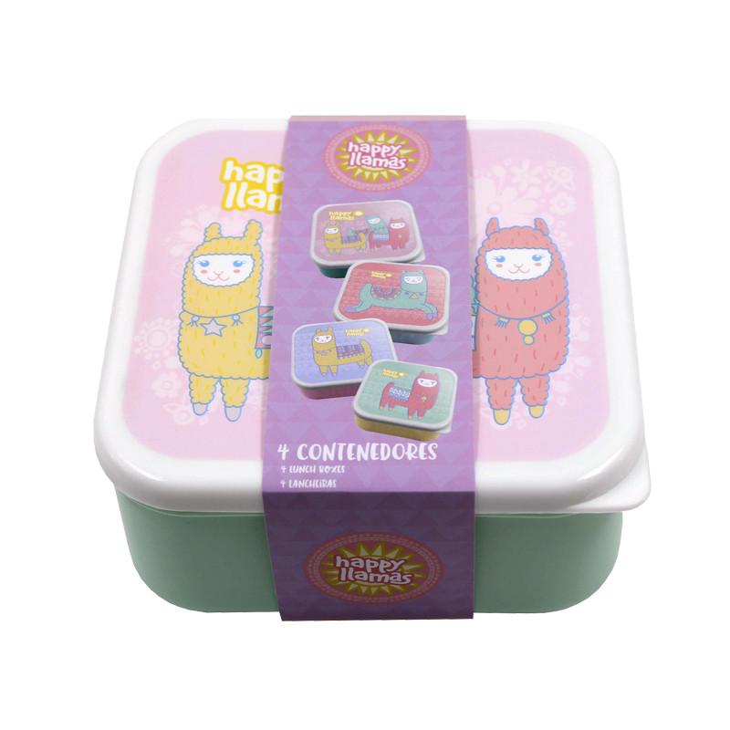 Marmita Conjunto 4 caixas em 1 Happy Llamas