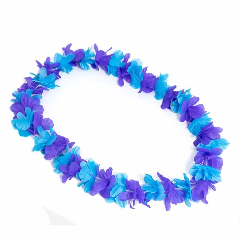 Colar Hawaiano Orquideas Azul-Lilás