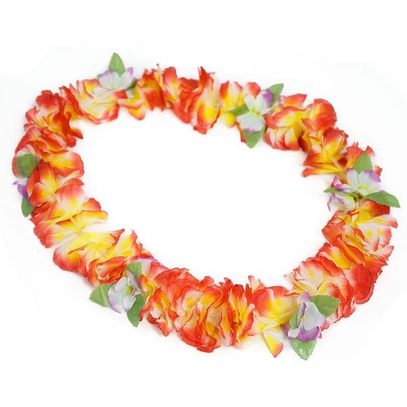 Colar Hawaiano Orquideas Vermelho-Amarelo