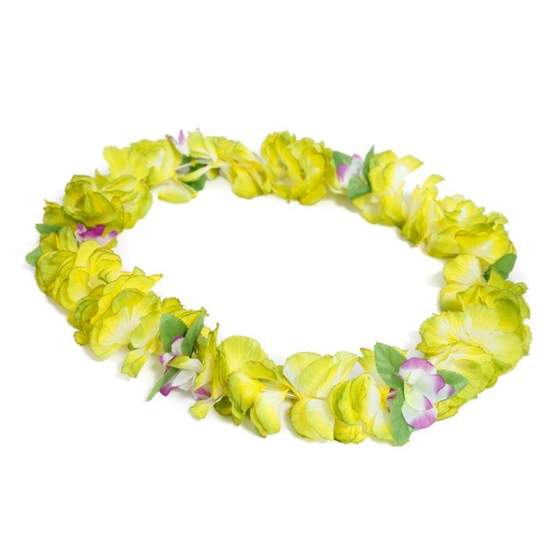 Colar Hawaiano Orquideas Verde-Amarelo