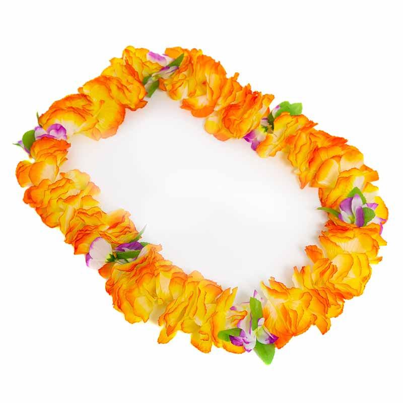 Colar Hawaiano Orquideas Laranja-Amarelo