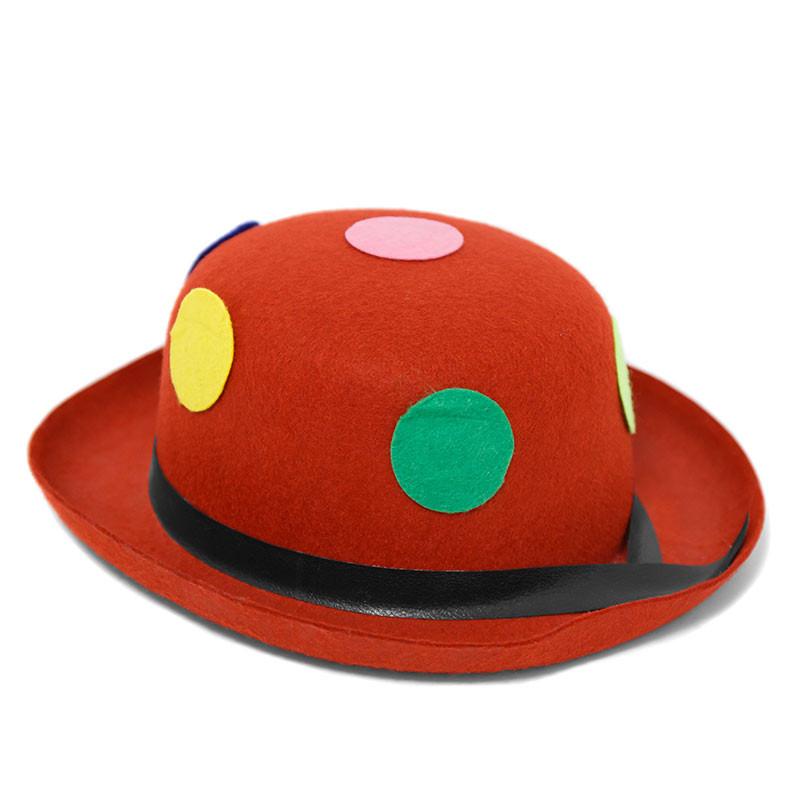 Chapeu de palhaço vermelho com bolinhas às cores