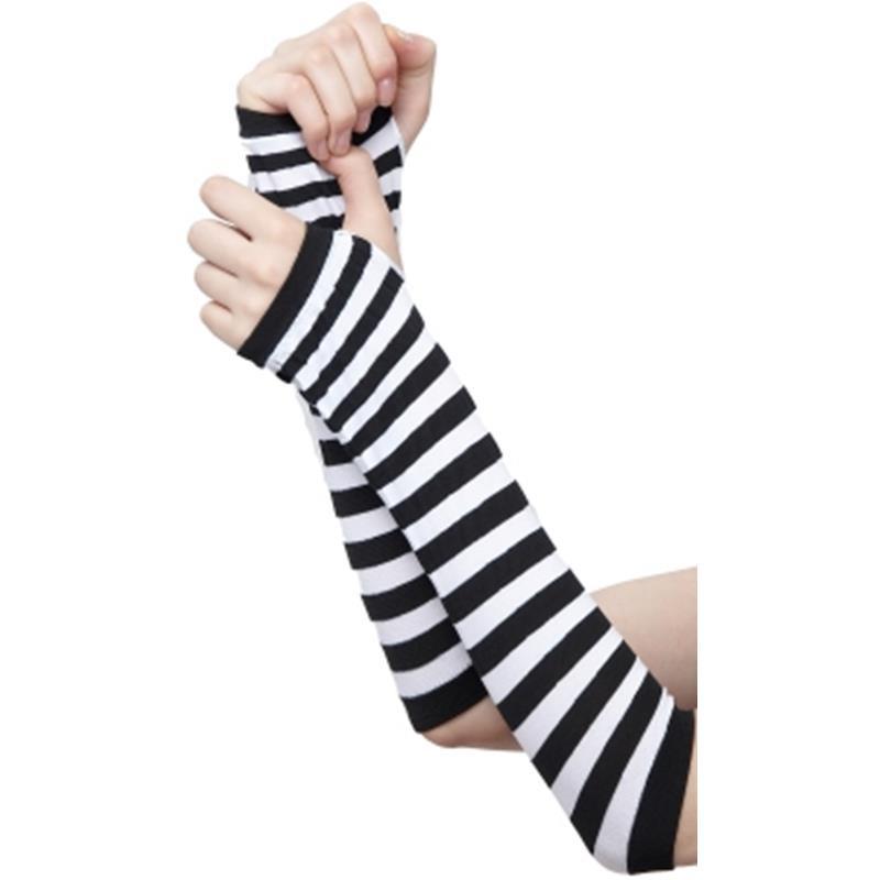 Luvas Compridas com listas brancas e pretas