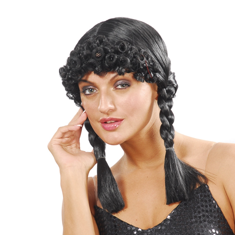 Carnaval peruca preta com tranças e Franja