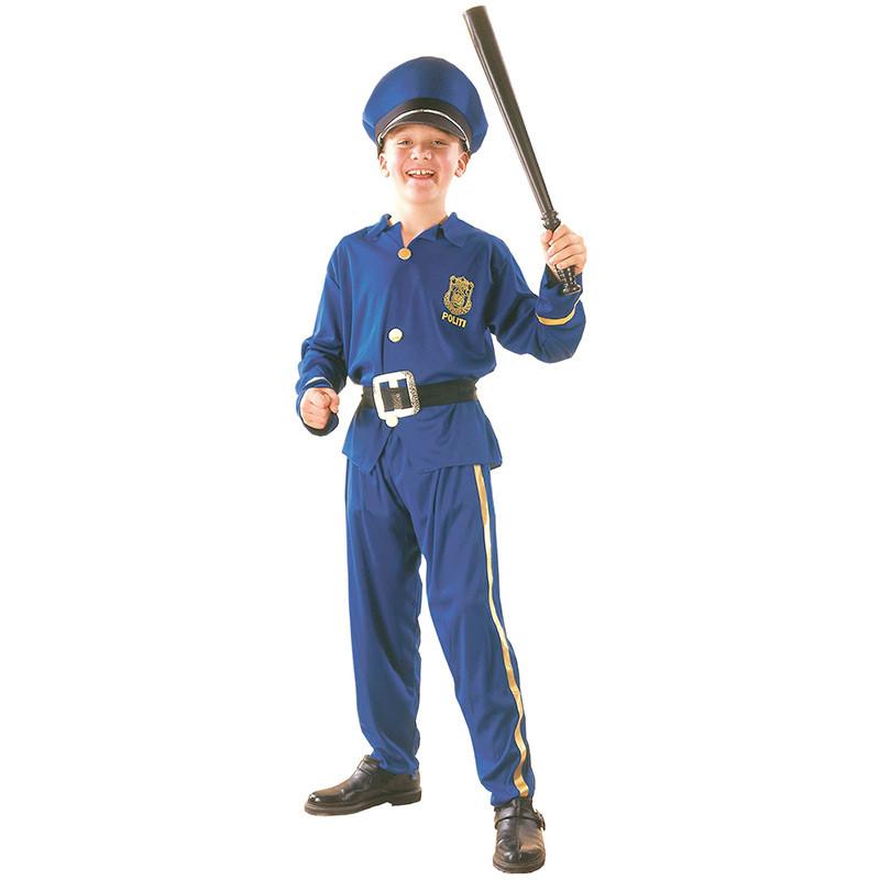 Disfarce polícia menino infantil