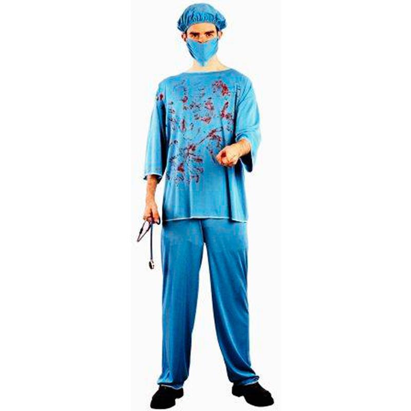Disfarce cirurgião ensanguentado adulto