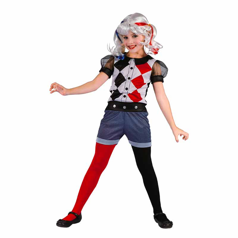 Disfarce Arlequina Halloween infantil