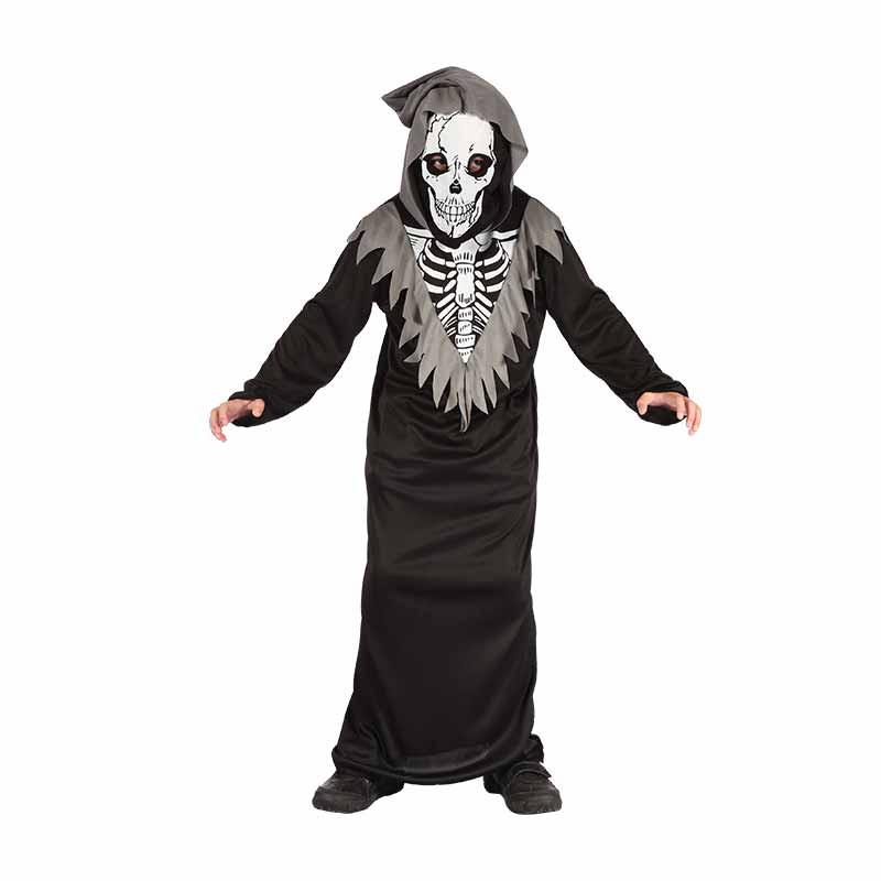 Disfarce Esqueleto com capuz infantil
