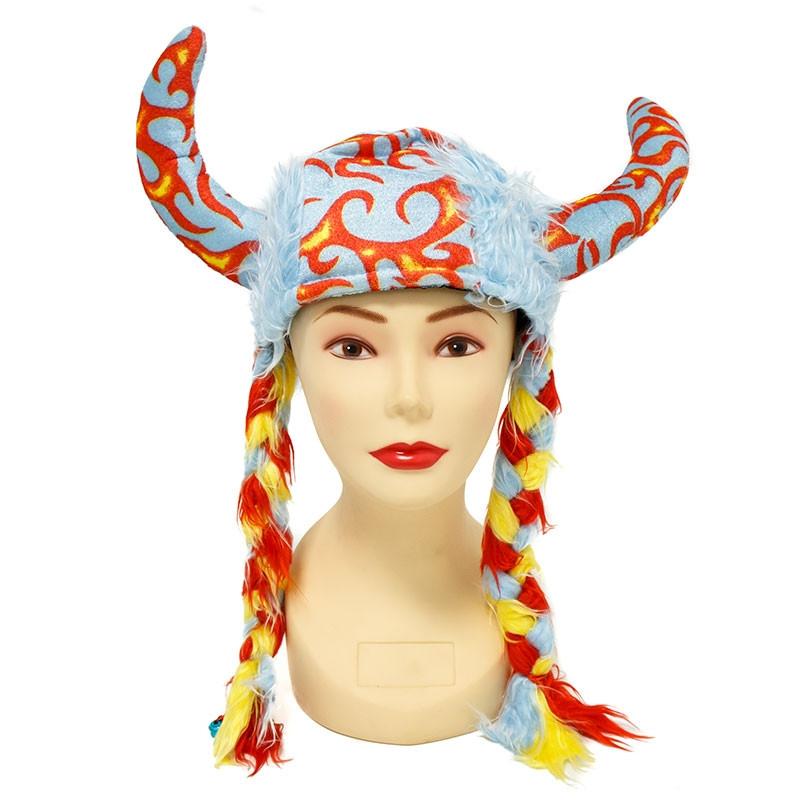 Chapeu Viking com tranças Carnaval