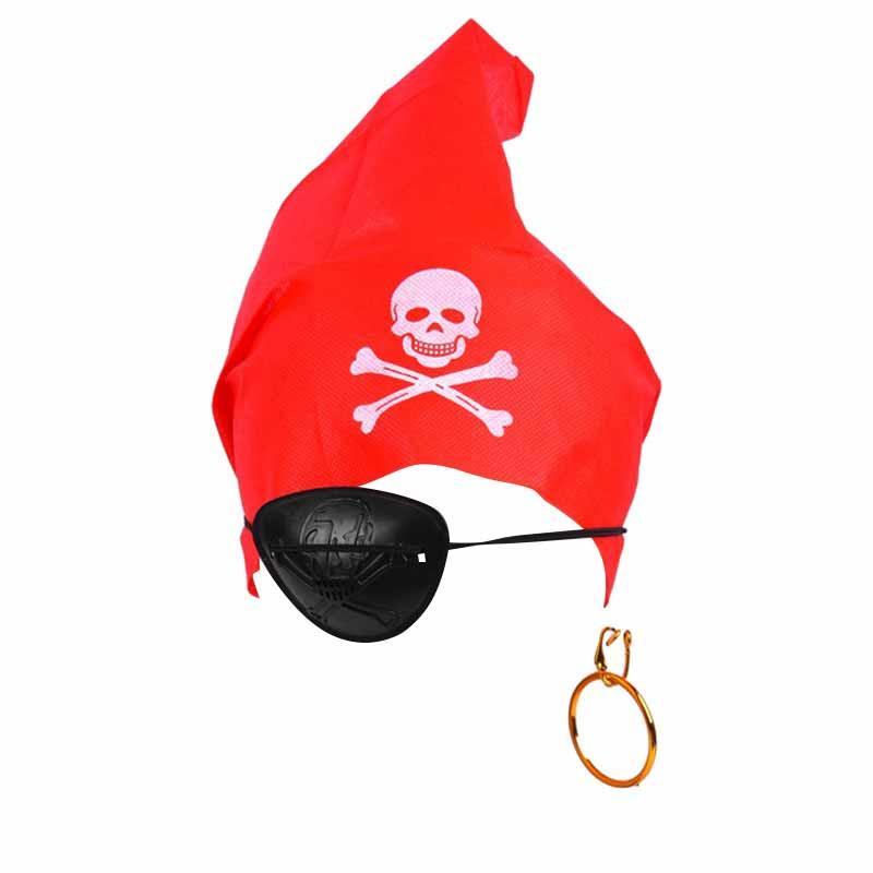 Conjunto pirata - Bandana brinco e tapa olho