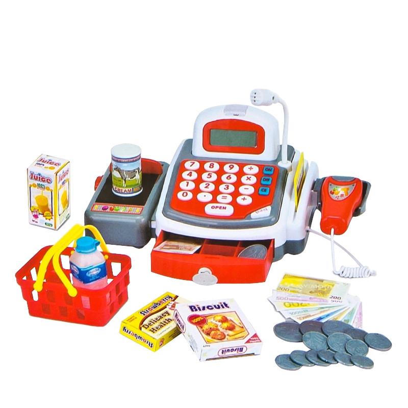 Caixa registadora e calculadora com luzes, sons