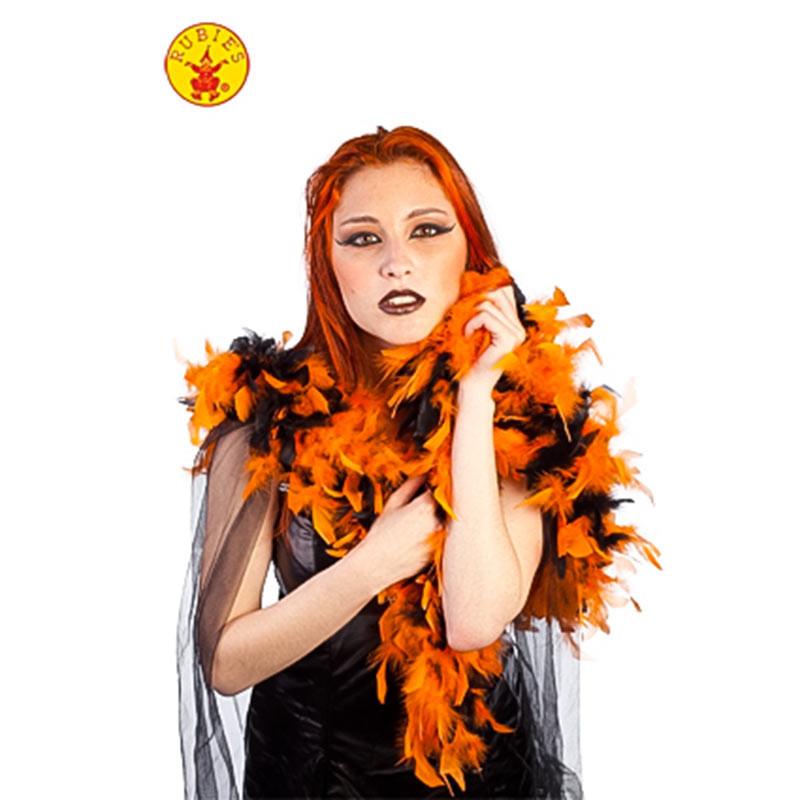 Chachecol Plumas Halloween Laranja-preto Rubies