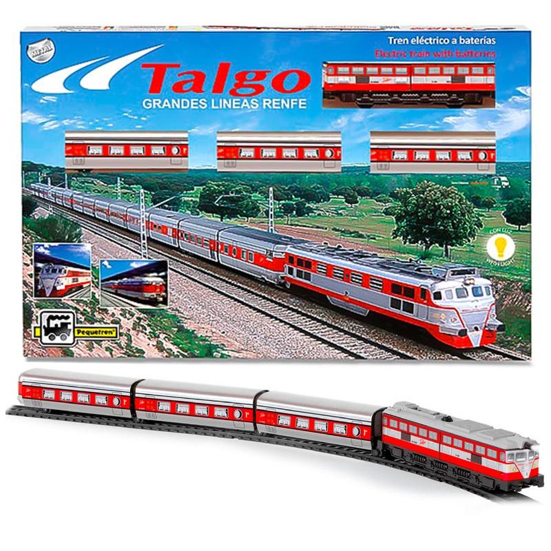 Comboio Talgo articulado metálico com luz