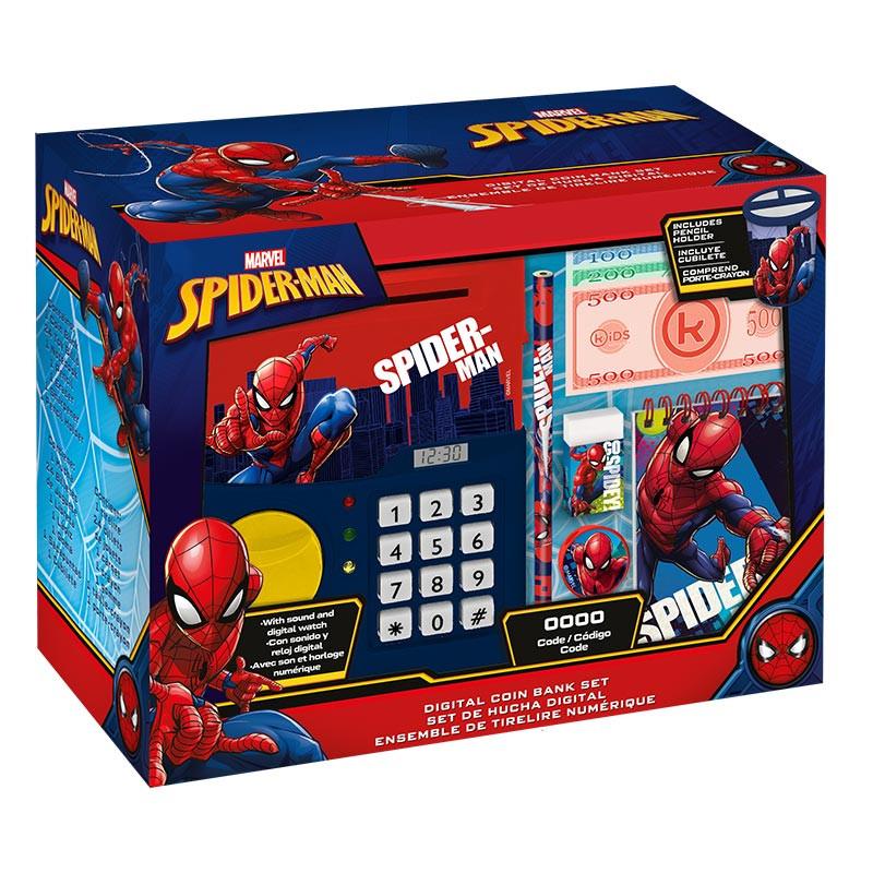 Caixa de dinheiro digital com relógio Spiderman