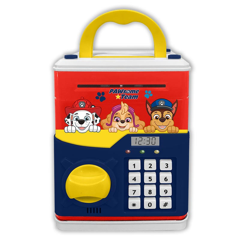 Caixa de dinheiro digital Paw Patrol com relógio