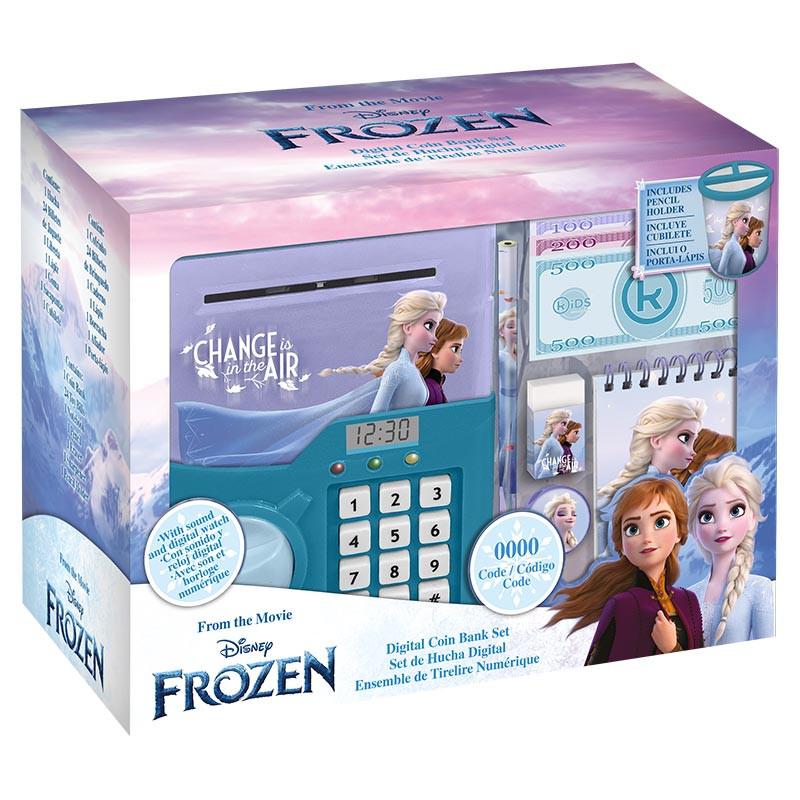Caixa de dinheiro digital Frozen II com relógio