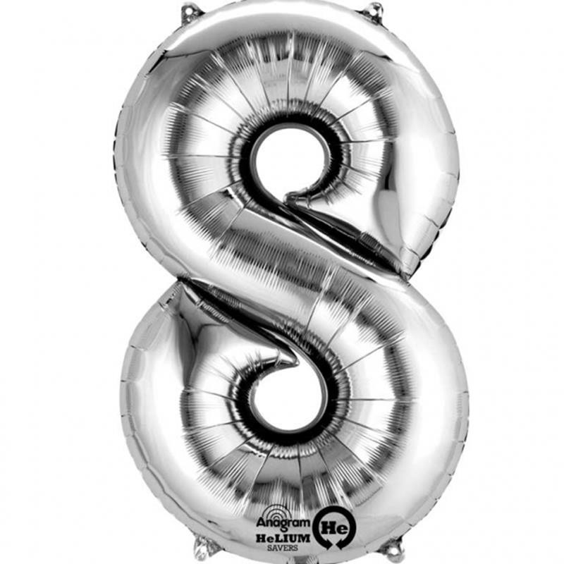 Balão Metalizado prateado número 8
