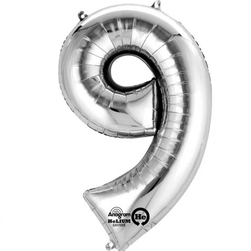 Balão Metalizado prateado número 9