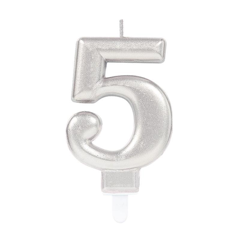 Vela metálica prateada número 5