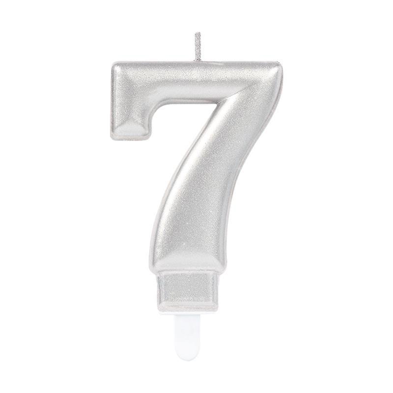 Vela metálica prateada número 7