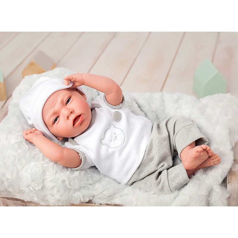 Boneca Reborn Dafne 40 cm cinzenta com almofada