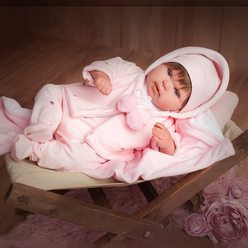 Boneca Reborn Blanca 45 cm com manta