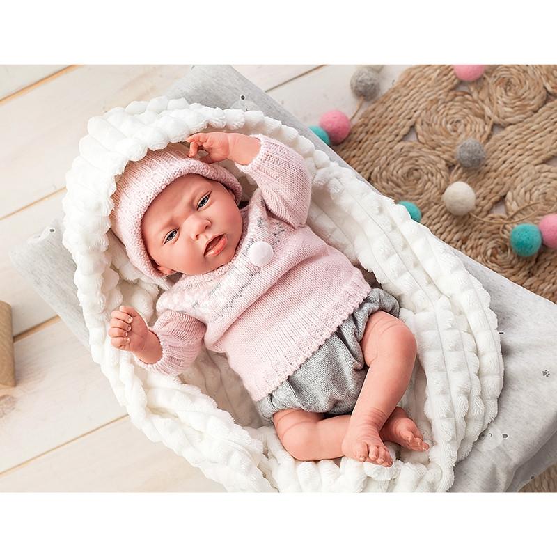Boneca Reborn Nieves 40 cm com manta e peluche