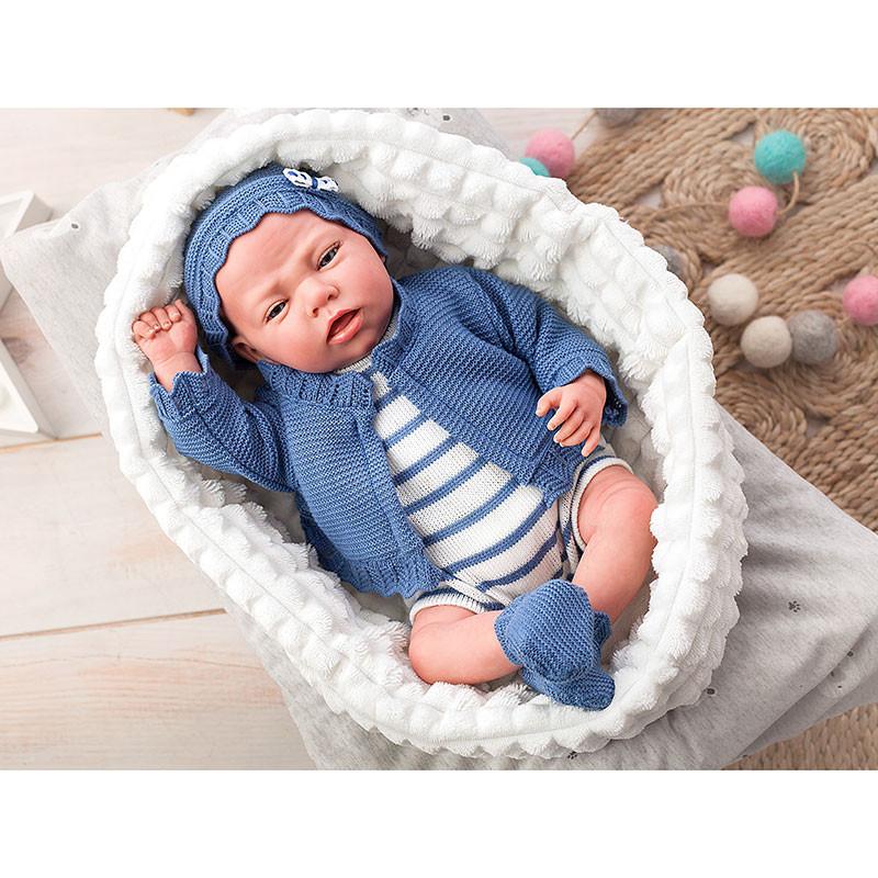 Boneco Reborn Mario 40 cm c/ cobertor e ursinho