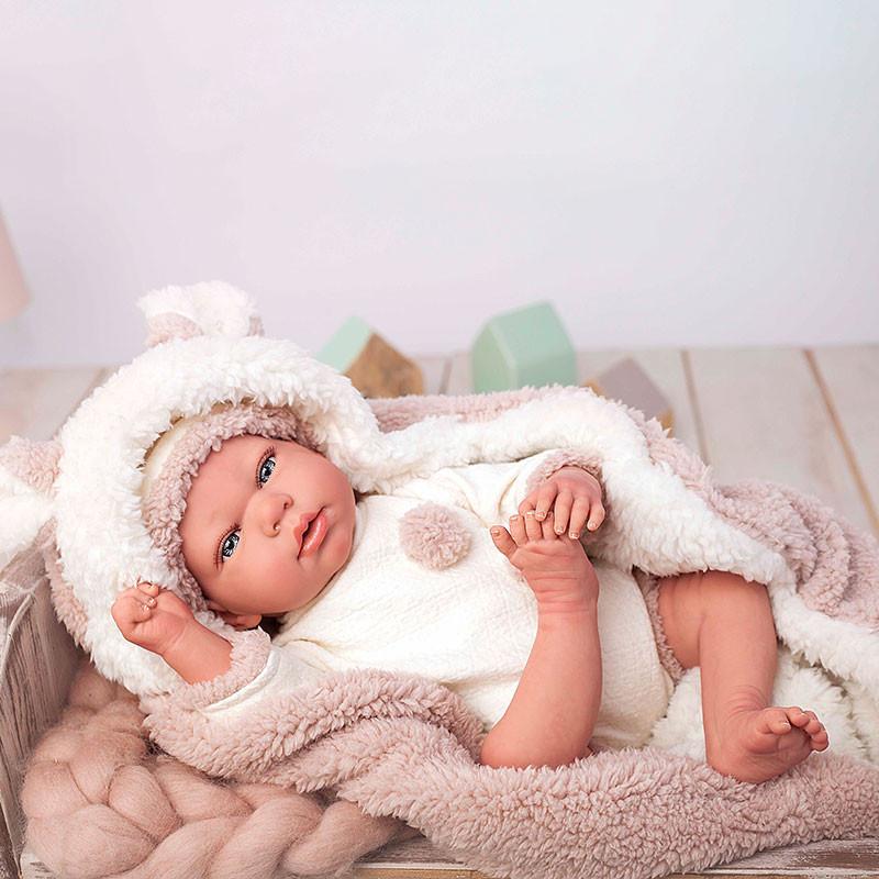 Boneca reborn Anna 40cm com manta e peluche