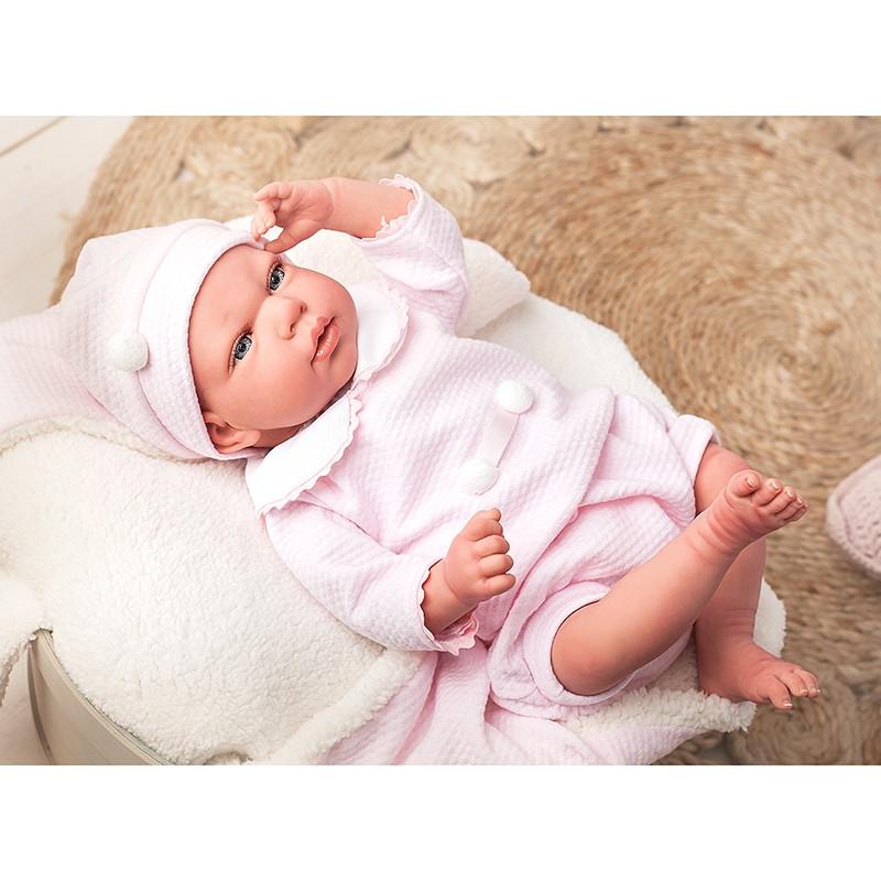 Boneca Reborn Raquel 40cm com manta e peluche