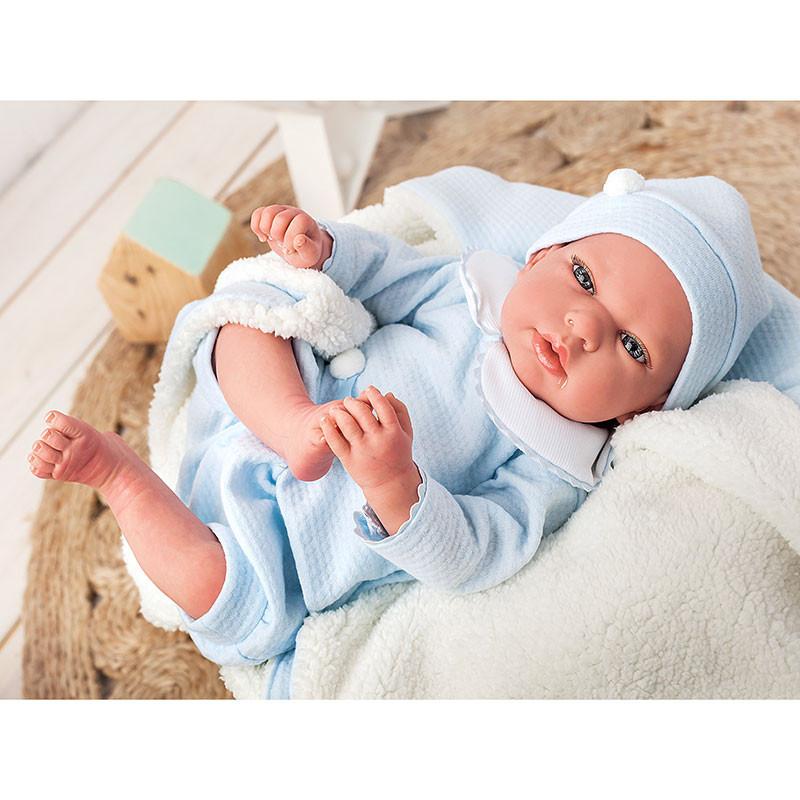 Boneco Reborn Tiago 40 cm c/ cobertor e ursinho