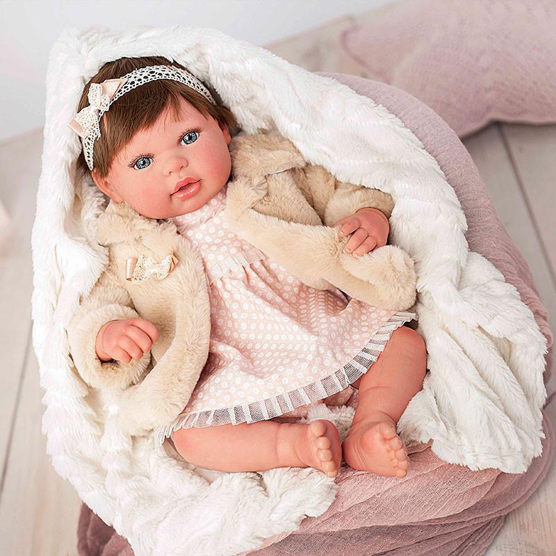 Boneca reborn Andrea 45cm com cabelo e casaco