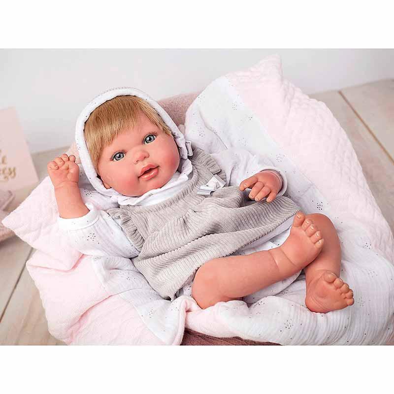 Boneca reborn Emma 45 cm com manta e peluche