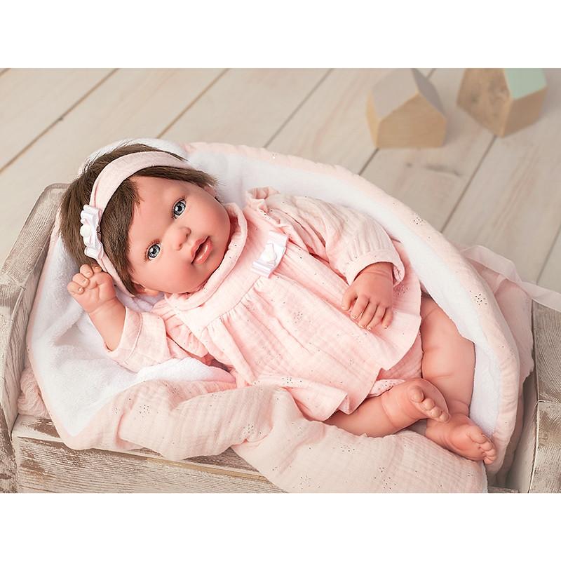 Boneca Reborn Valentina 45 cm com manta e peluche