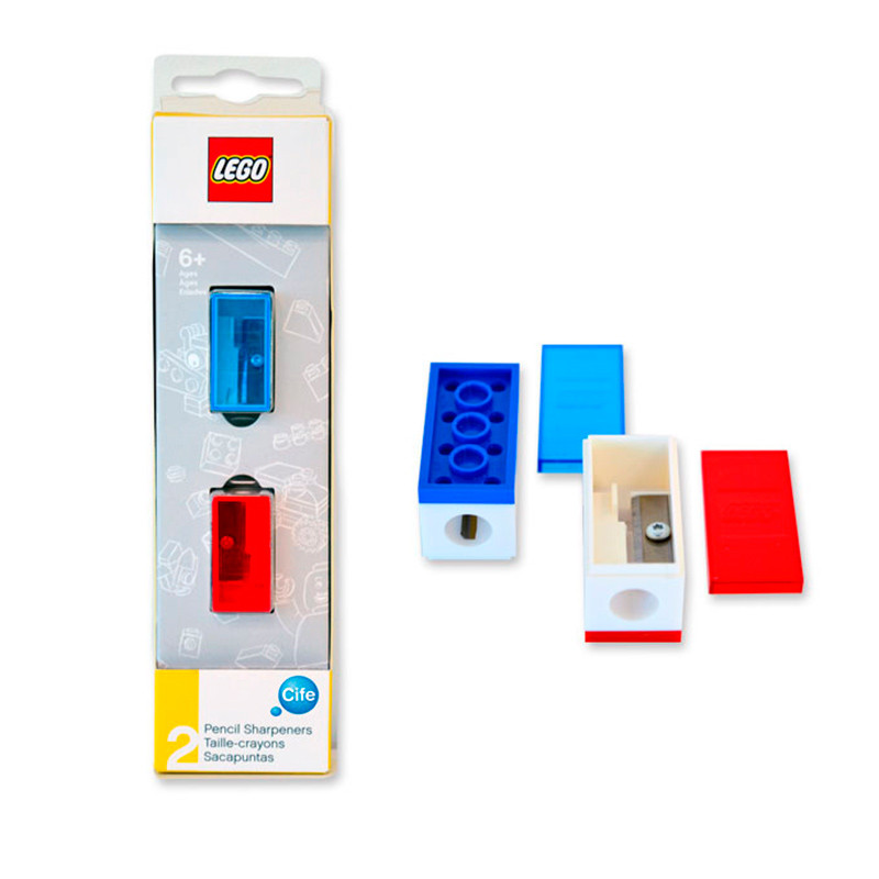 Afias LEGO azul e vermelho