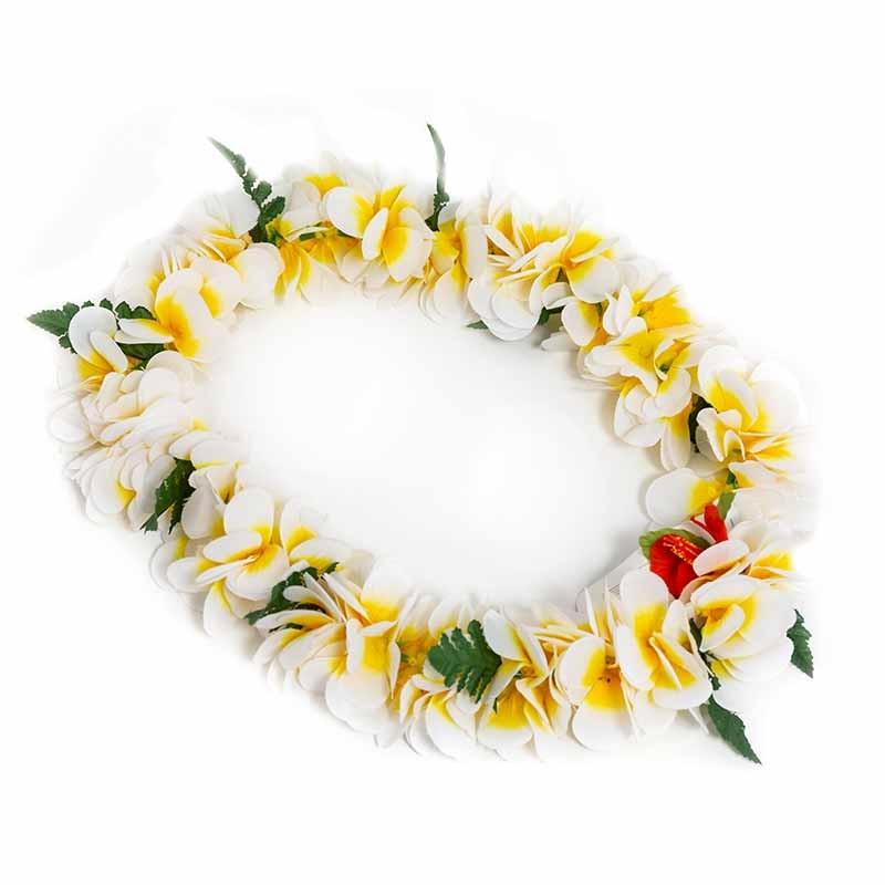 Colar Hawaiano Orquideas Branco-Amarelo
