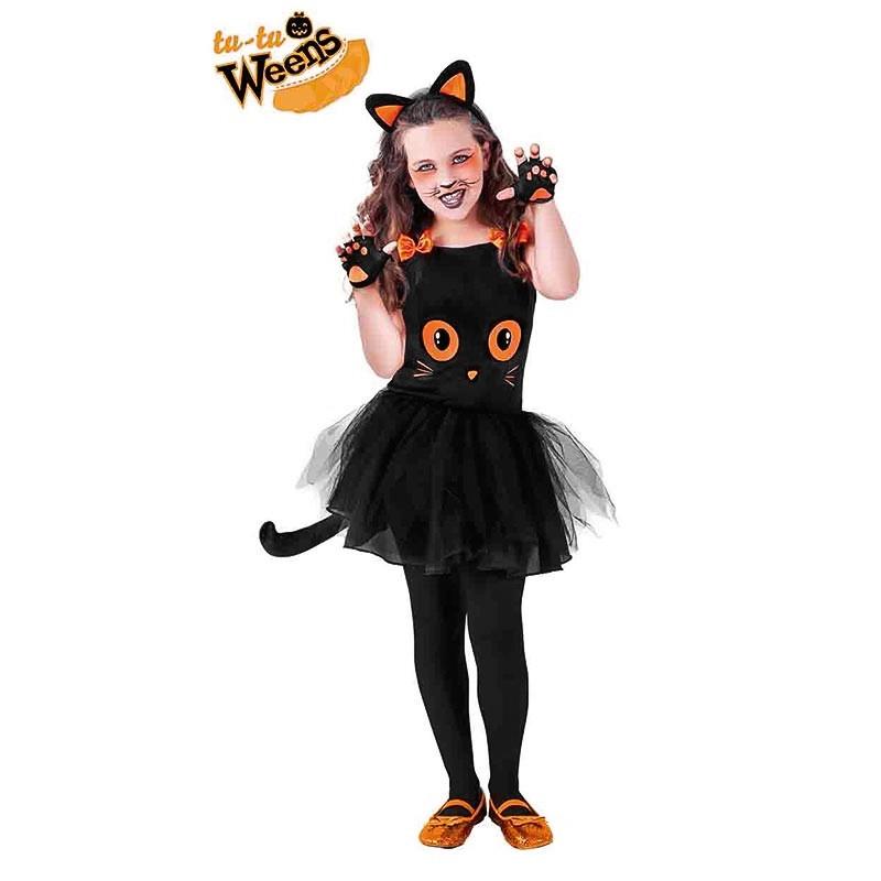 Disfarce gatinha preta com tutu infantil